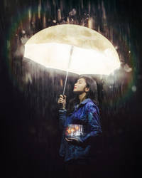 City girl and her moon umbrella 1
