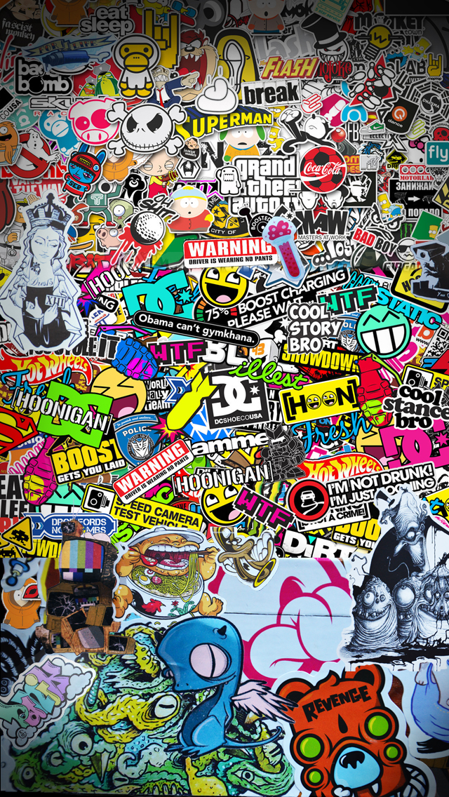 Stickerbomb IOs IPhone 6 Wallpaper By BrandONholsey