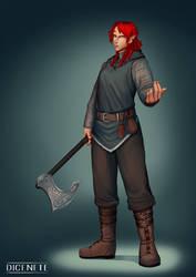 Sorla - Half Elf Barbarian - DnD Commission by Dicenete