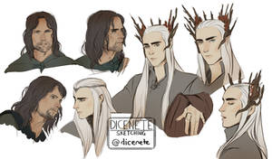 portrait studies of Aragorn and Thranduil