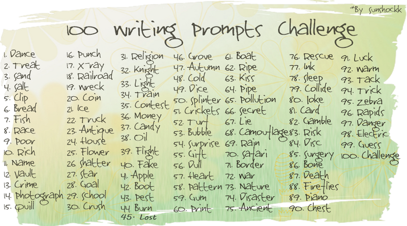 writing prompts challenge by sunshockk on  100 writing prompts challenge by sunshockk
