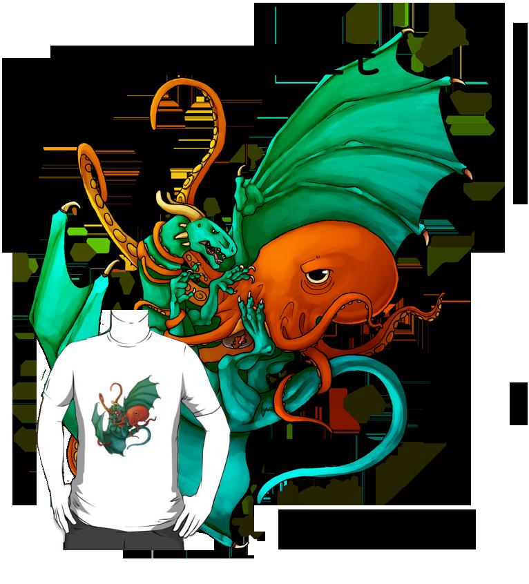 Dragon vs octopus T-shirt design by EagleIronic