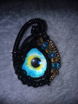 Wire wrapped glass eye try #2