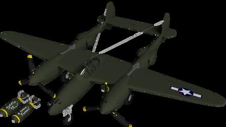 Lockheed P-38 Render (WIP 09 - USAF roundel)