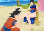 Goku worshipping Chi Chi tired sweaty feet