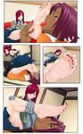 Erza getting her feet worshipped by Yoruichi