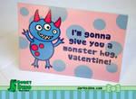 Monster Hug Valentine's Day Card by brandimillerart