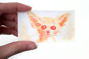 Tiny Watercolor Fennec Fox Painting by brandimillerart