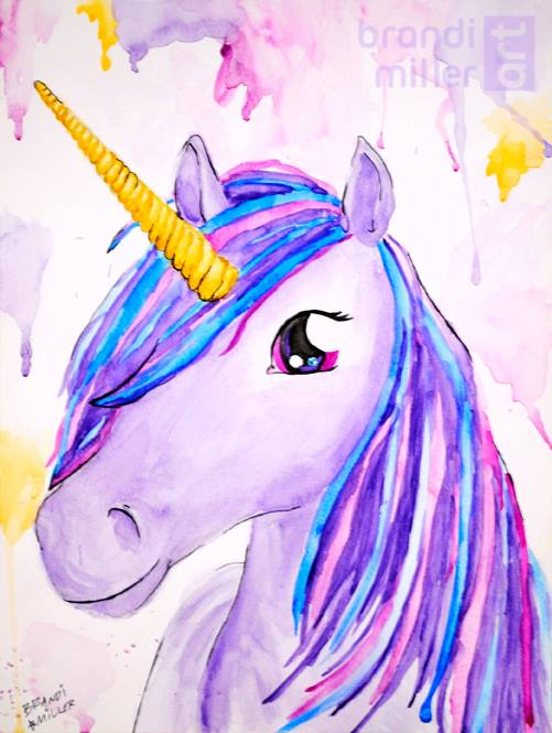 Purple Unicorn by brandimillerart