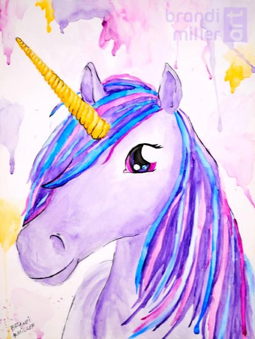 Purple Unicorn by brandimillerart