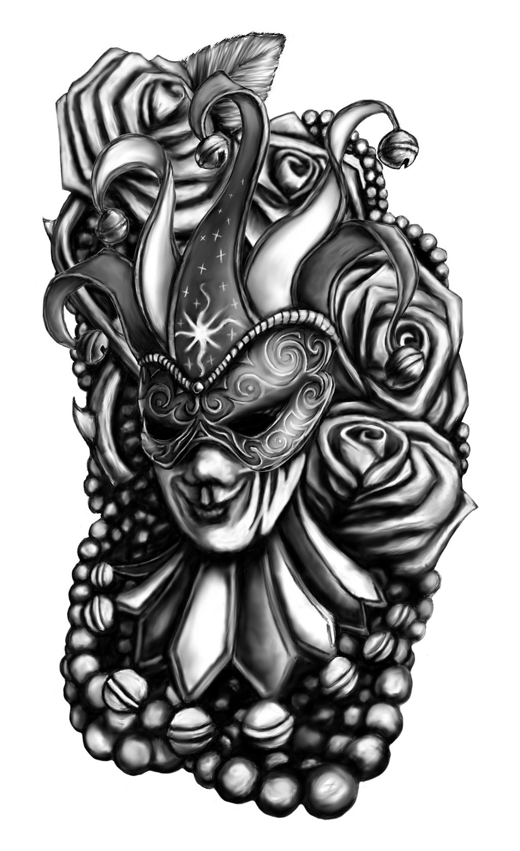 Mardi gras tattoo design by el be on deviantart for Mardi gras mask tattoo