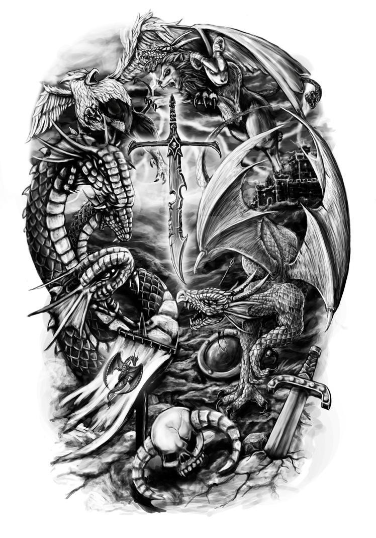 9f5615b55 Fantasy half sleeve design by El-Be on DeviantArt