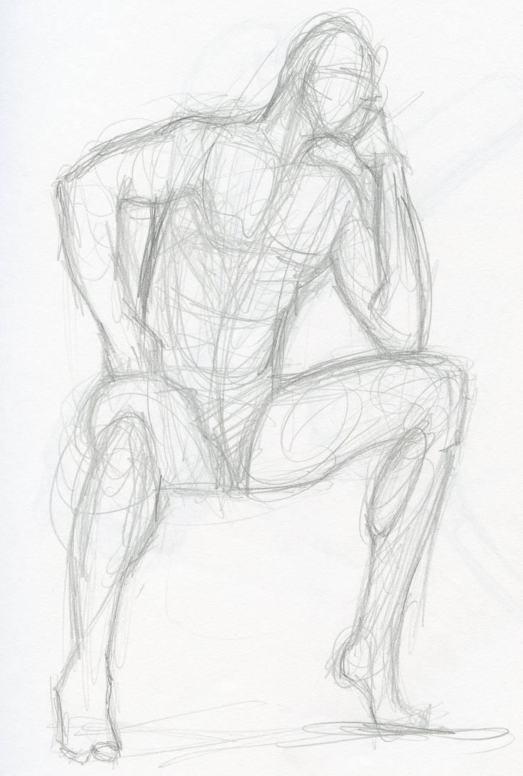 Pencil sketch figure study by paulhebron