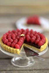 1:12 scale Chocolate Raspberry Tart