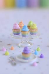 1:12 scale Rainbow Unicorn Cupcakes