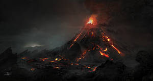 volcano matte painting