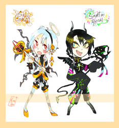 Cheap adopts! - Angel and Devil pair - Closed by Kemikeni