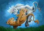The battle of the Lion and Unicorn by RobinAnchor