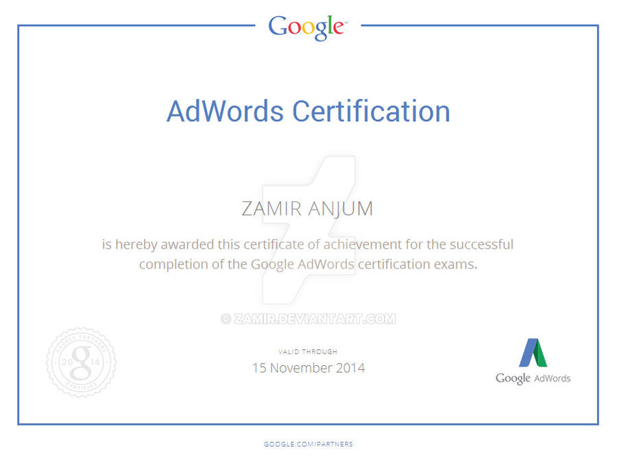 google certification by zamir