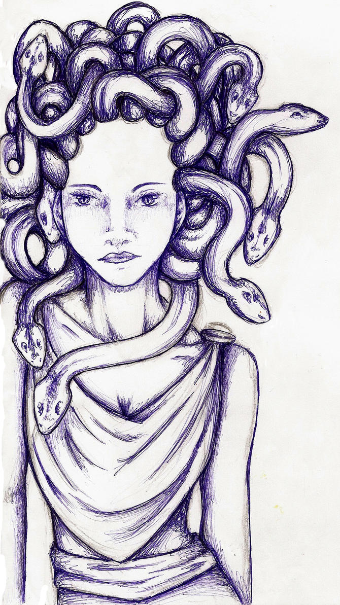 how to draw medusa head easy