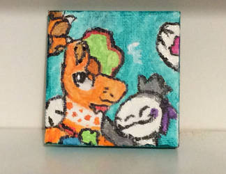 Clover and Violet Crafty Sunday (mini canvas) by CrookedEmerald
