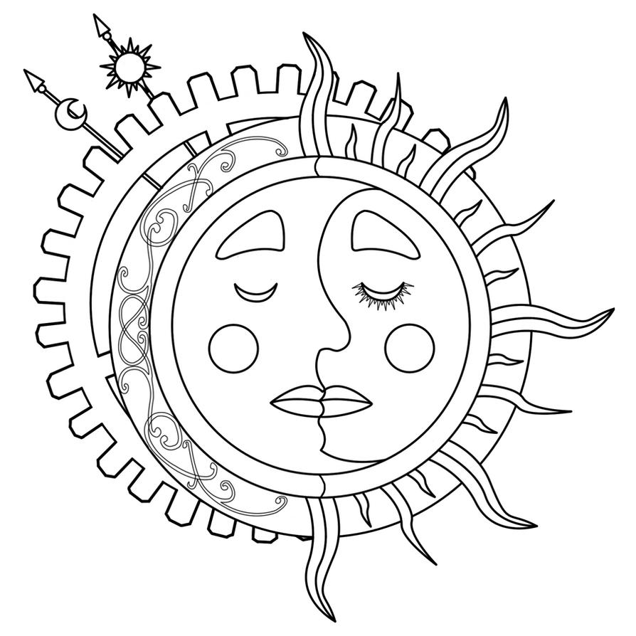 Line Art Moon : Moon sun steampunk tattoo lineart by dimensionten on