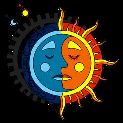 Moon Sun Steampunk Tattoo color 2
