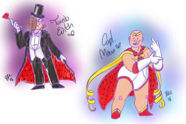 Captain Moon and Tuxedo Edith by 0ArmoredSoul0