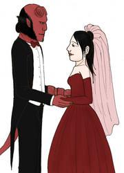Liz and Hellboy - Wedding by KuramaLoverBunny