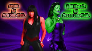 Aksana and Beth as Red and Green She-Hulk wp