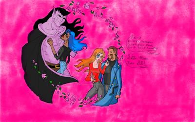 Goliath, Elisa, Fox, And David Xanatos Gargoyles by SailorMoonFanGirl