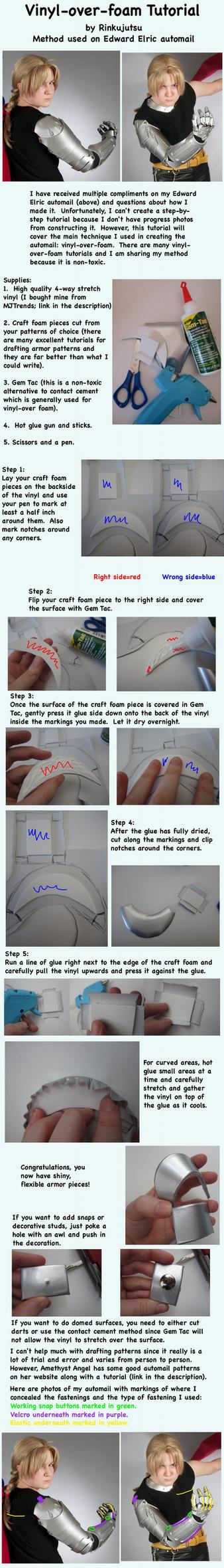 Vinyl over foam tutorial - Edward Elric automail by Rinkujutsu