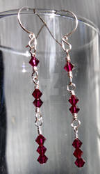 1-2-3 Earrings in Ruby and Silver Plated Wire Wrap