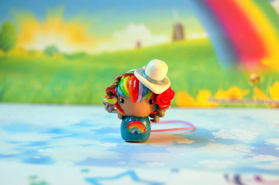 Kawaii Rainbow Chibi Clay Charm by FatCatCharms