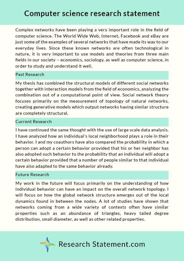 Computer Science Research Statement Sample By Researchstatement74