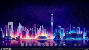 Rainmeter Desktop Tokyo visualizer background