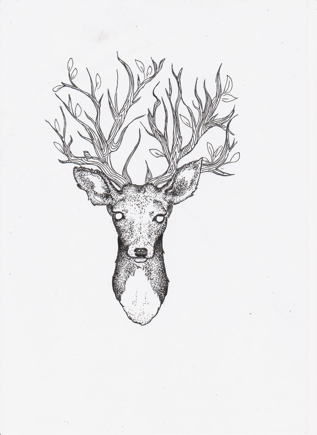 Ink deer by sempeternally on deviantart for Line drawing wallpaper