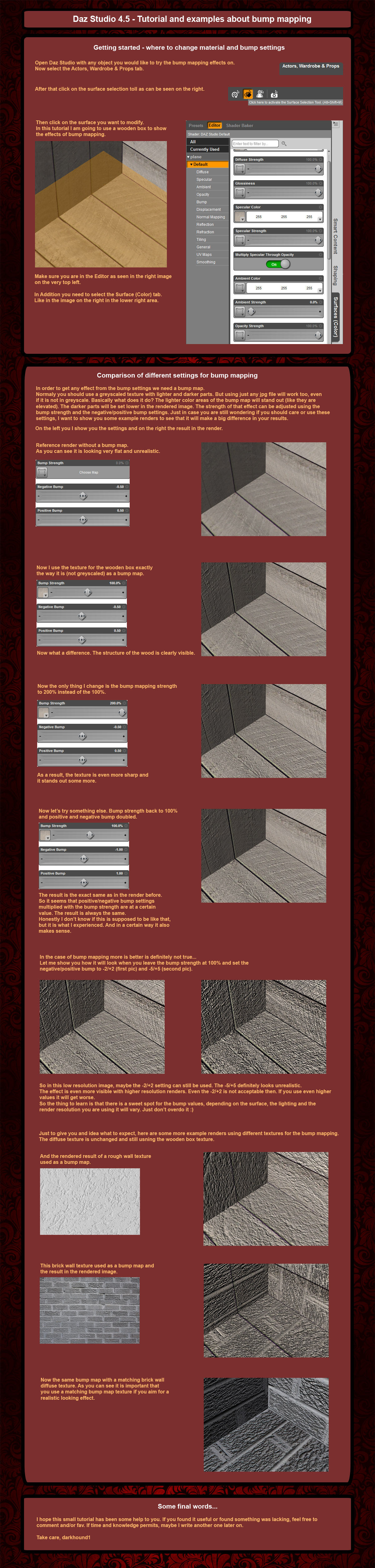 Daz Studio 4.5 small tutorial about bump mapping