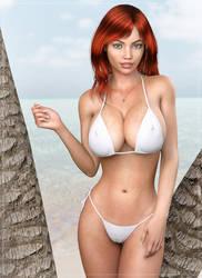 Leah at the beach again ...(IRay)