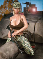 Jessica in the military ... big guns ... (IRay) by darkhound1