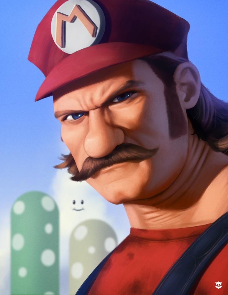 Badass, Buff-Ass Mario by M-Thirteen