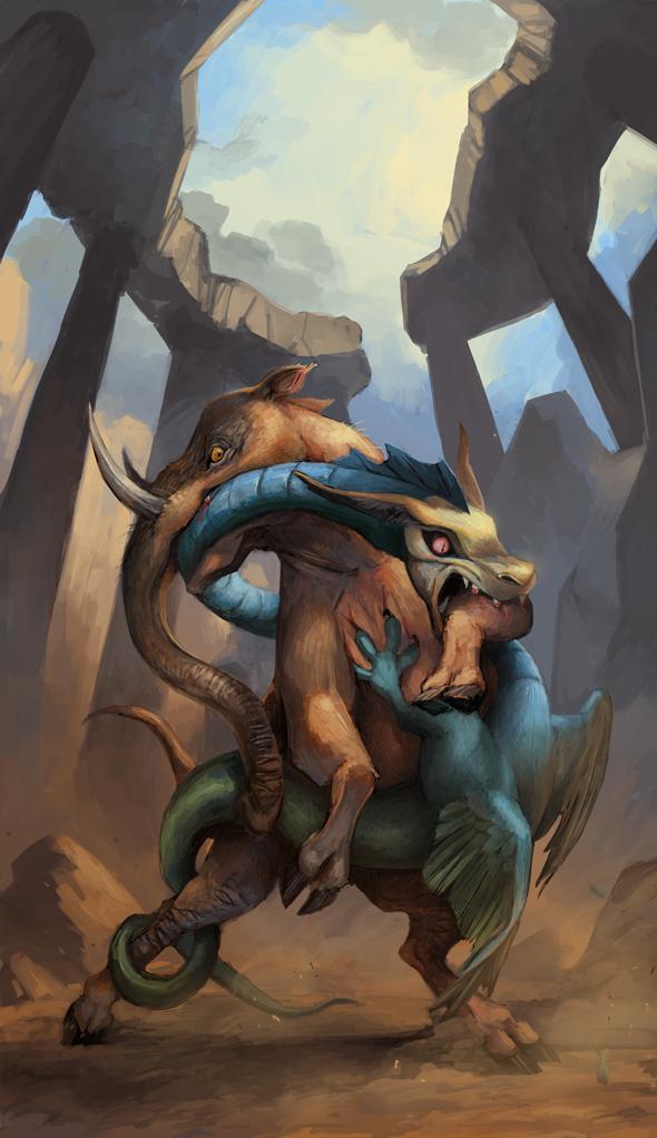 Elephant vs. Dragon by Keaze