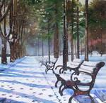 Snowy park by rougealizarine