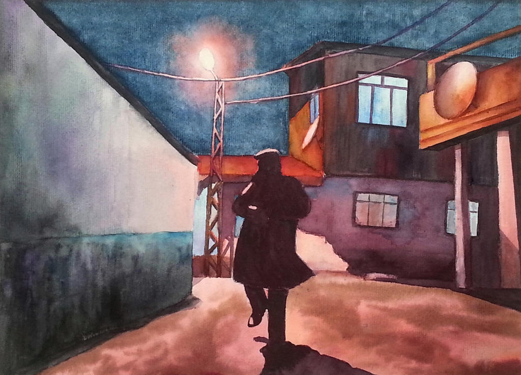 Night walk in slum by rougealizarine