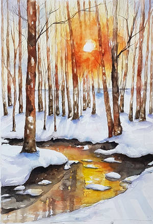 Winter sunset by rougealizarine