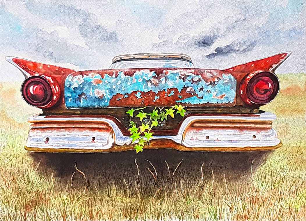 Old car with ivy by rougealizarine