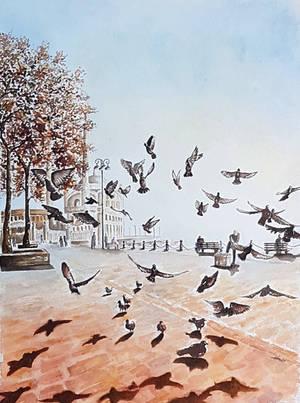 Doves in Ortakoy by rougealizarine