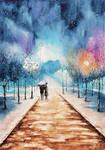 Night walk in snow by rougealizarine