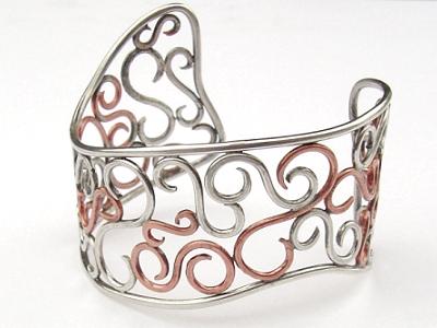 Silver and Copper Scroll Cuff by MarieCristine