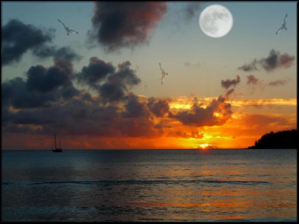 Sunset Moonrise by welshdragon